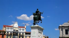 Monument of king Philip in Plaza de Oriente in Madrid, Spain Stock Footage