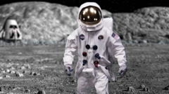 Astronaut on Space Walk - Moon Landing NASA - stock footage