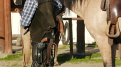 Cowboys and horses. American wild west Stock Footage