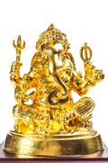 The Hindu god Ganesh isolated on white - stock photo