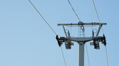 Cable Car Line Running with Blue Sky at Background Stock Footage