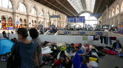 4K Syrian Migrants at the Eastern Railway Station in Budapest Hungary 26 Stock Footage