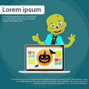 Laptop Computer Zombie Boy Scary Cartoon Character Smile - stock illustration