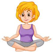 Middle aged woman doing yoga Stock Illustration