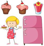 Girl baking cake and other desserts Stock Illustration