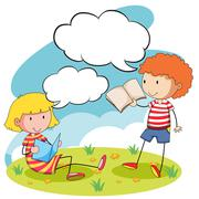 Boy and girl reading books in the park Stock Illustration