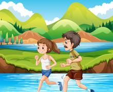 Man and woman jogging in the park Stock Illustration