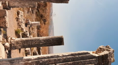 Vertical shot of Time-lapse of ruins on Mount Arbel, Israel. Stock Footage