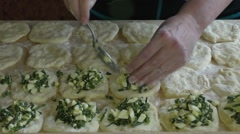 Woman puts on the dough stuffing - stock footage