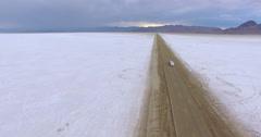 Driving motorhome on Bonneville Salt Flats, Utah. Stock Footage
