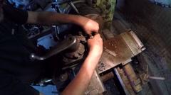 Turner Making Plastic Plug On Machine Stock Footage