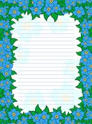 Sheet of notepad with floral frame in blue hues - stock illustration