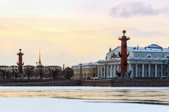 Snowy dawn in Saint Petersburg. Spit of Vasilievsky Island in winter - stock photo