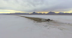 Driving motorhome on Bonneville Salt Flats, Utah. Stock Footage