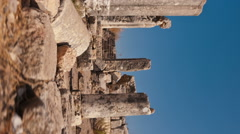 Vertical shot of Moving time-lapse of ruins on Mount Arbel, Israel. Stock Footage