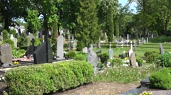 Panorama view of old country cemetery in spring . 4K Stock Footage