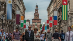 EXPO 2015 flags at via dante street in Milan, Italy. Sforza castle in background Stock Footage