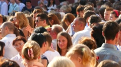 Crowd Of People Standing And Talking Stock Footage