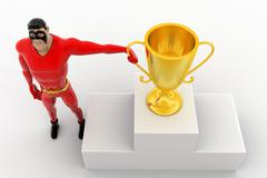 3d superhero with top 3 and winner award cup concept Stock Illustration