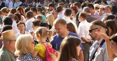 Crowd Of People Standing And Talking 4k Stock Footage