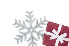 luxury color gift box for holiday event silk wrap snowflake - stock photo