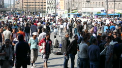 4K Syrian Migrants at the Eastern Railway Station in Budapest Hungary 29 Stock Footage