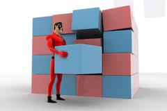 3d superhero making big cube from small pink and blue cubes concept - stock illustration