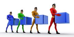 3d superheros in queue and holding square cubes concept - stock illustration