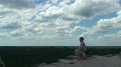 Top of the Nohoch Mul Ancient mayan city Coba pyramid in hidden jungle. Mexico Stock Footage