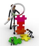 3d big man examine puzzle construction work of small men concept Stock Illustration