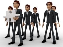 3d men in three line and one man holding puzzle piece with text here concept Stock Illustration