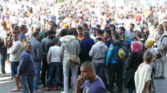 4K Syrian Migrants at the Eastern Railway Station in Budapest Hungary 30 Stock Footage