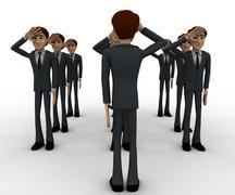3d group of military men saluting officer concept Stock Illustration