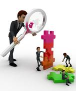 3d big man examine puzzle construction work of small men concept Stock Illustration