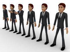 3d group of men standing in line to represent team concept - stock illustration