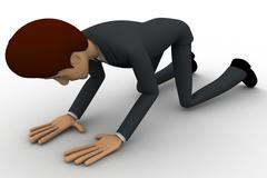 3d man doing prayer on knee concept - stock illustration