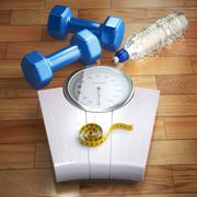 Fitness and weight loss concept. Weigh scales, dumbells and measuring tape. Piirros