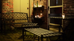 Decorative outdoor patio with candlelight. Stock Footage