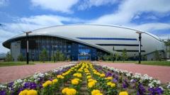 Republican cycle track Saryarka in Astana Stock Footage