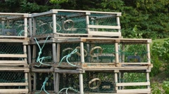 Lobster traps in storage Stock Footage