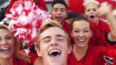 Tailgate: Group Of Excited Fans Yelling For Video Selfie Stock Footage