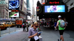 New York City, USA-Jul 6,2015: Pedestrians and traffic at the Times Square, NYC Stock Footage