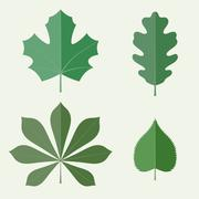 Flat leaves Stock Illustration
