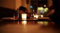 Romantic candlelight dinner at restaurant. Stock Footage