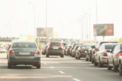 blurred traffic jam - stock photo