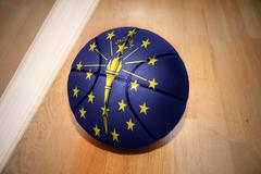 Basketball ball with the flag of indiana state Stock Photos