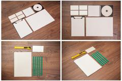 Stationery items on a wooden background.Set mock-up for branding identity. - stock photo