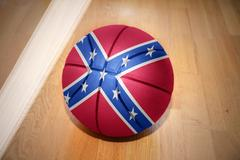 basketball ball with the confederate flag - stock photo
