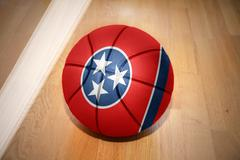 basketball ball with the flag of tennessee state - stock photo