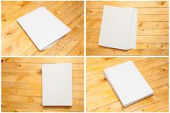 Blank forms on a wooden background. Set mock-up for branding identity. Stock Photos
